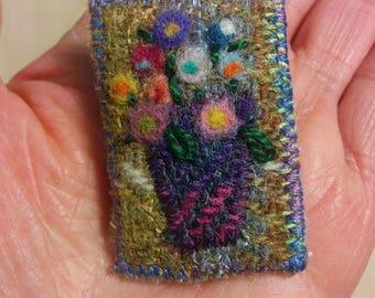 Harris Tweed, fibre art, felted, Old Masters flower brooch