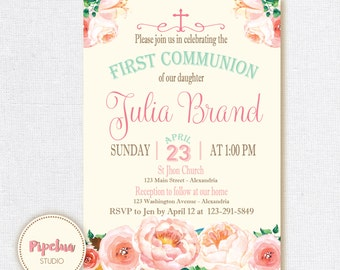 Communion Invitation. Baptism invitation. Pastel colors, mint and pink, floral invite. Printable & personalized. Watercolor Baptism invite