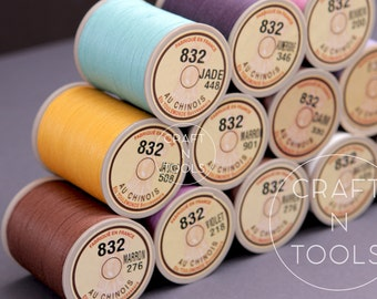 "Sajou Fil au Chinois ""Lin Cable"" Waxed Linen Thread #832 (0.43mm) in 31 colors/Corded Thread/Linen Cable/Leathercraft Thread"