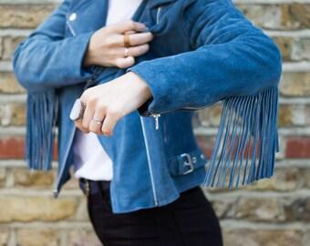 Tassel Biker Jacket, Suede Festival Jacket with Fringe detail, Cropped Leather Biker Jacket - PETROL BLUE