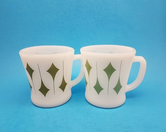 Two Fire King Green Kites Mug, Two Shades of Green, Fire King Mugs