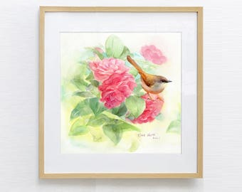 Watercolor Bird, Watercolor Painting, Bird Painting, Watercolor Print, Watercolor flower, Original Watercolor Painting Print,
