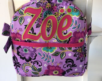 Personalized Backpack - Girls Backpack - Preschool Backpack - Toddler Backpack - Paisley Backpack  - Purple Flowers - Pink and Purple