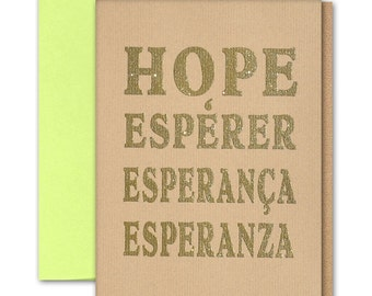 """Hope Letter Greeting Card thermography with metallic Gold glitter ink brown paper 5""""x7"""" folder blank inside / envelope"""