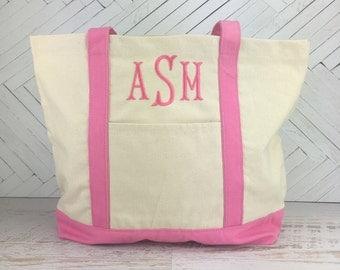 Monogram Canvas Tote Bag   Personalized Canvas Tote   Beach Tote   Pool Tote   Bridesmaid Gift   Teacher Tote