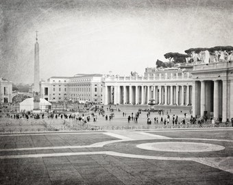 Rome, Vatican, St. Peter's Square, Rome Photography, Black and White, Rome Print, Travel Decor, Italy, Europe, Wall Art