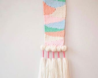 Small Weaving- Handwoven Scultpural Wall Hanging - Mixed Media - Fiber - Peach Mint Green Pink and Ivory