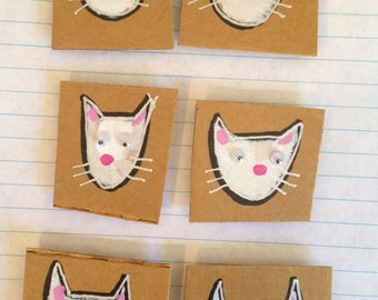 "Fridge Magnet SET - ""White Cats"""