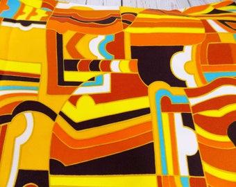 Retro Geometric Fabric,orange,brown,vintage,Maytag fabric,McDuff Design,mid century modern,polyester,material,home decor,upholstery fabric