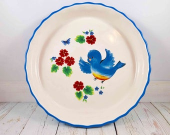 Retro designed Pie Dish,ceramic pie dish,casserole dish,pie plate,blue birds,mid century modern,vintage kitchen,ovenproof,casserole,baking
