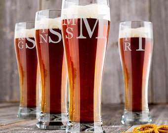 Set of 9 - Personalized Monogrammed Glass, Personalized Monogram, Engraved Pilsner Glass, Wedding Party Glasses, Wedding Glasses