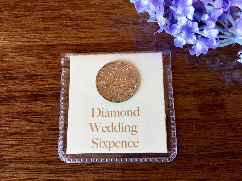Wedding Anniverary Gifts: Diamond Wedding Sixpence 60th Wedding Anniversary Gift For