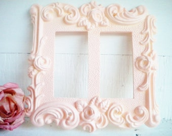 Shabby Chic Rocker Switch Cover in Pink /2 Way GFI Light Switch Cover/Poly Rosin Finish/Rose Switch Plate/Price For 1