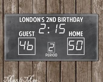 Basketball Sports Scoreboard Banner,Basketball Party Decor, Basketball Party Banner, Digital File