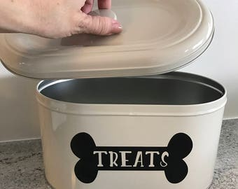 Dog Treat Jar, Dog Treat Container, Personalized Dog Cookie Jar, Treat Canister, Tin Container, Dog Treats Container, Tin Retro Container
