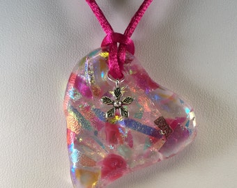 Fused Glass Jewelry, Heart Pendant, Dichroic Glass Necklace, Pink and Clear Heart Glass Pendant with Satin Cord and Flower Charm