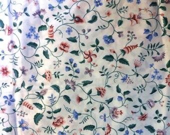 Designer Waverly Gale Lane Cotton Screen Print Pink Blue Floral Fabric 1.5 yard