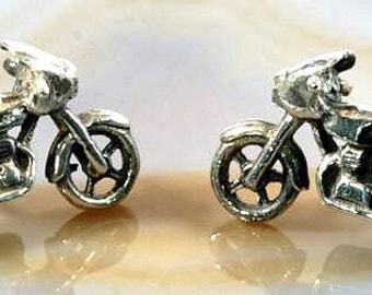 Motorcycle - stud earrings 925 sterling silver --   5036