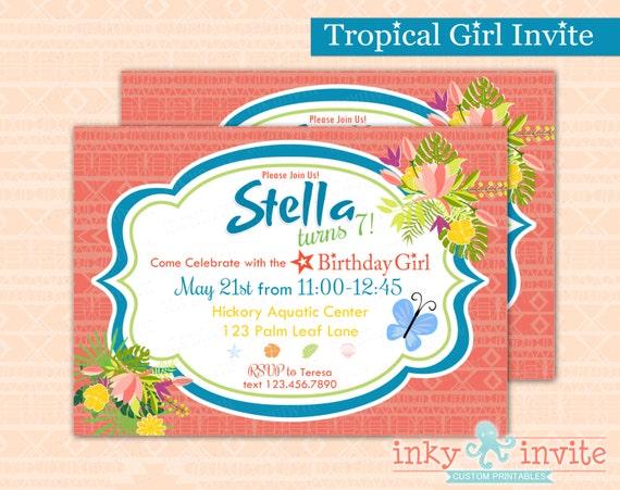 Tropical Girl Birthday Party Invitation