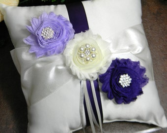 Ring Bearer Pillow, Wedding Ring Pillow, Lavender and Purple Ring Pillow, Pearl and Crystal Rhinestone Wedding Ring Pillow YOU PICK COLORS