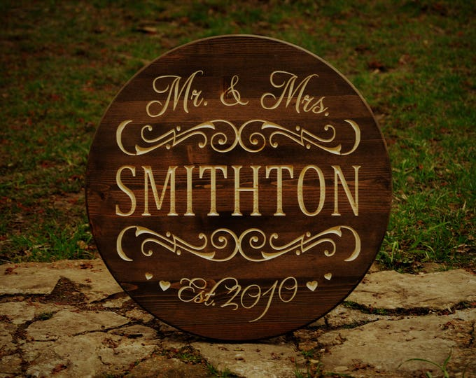 Unique Bridal Shower Gift Wedding Shower Gift Last Name Sign Custom Wooden Family Name Welcome Sign Established Name Gift Anniversary Gift