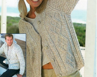 "womens / mens aran cardigans knitting pattern PDF ladies cable jackets round v neck larger sizes 32-54"" aran worsted 10ply Instant download"