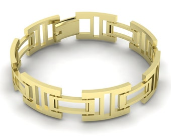 Exceptionally Unique 2017 Collection 14k  Yellow Gold Bracelet For MEN MB-011