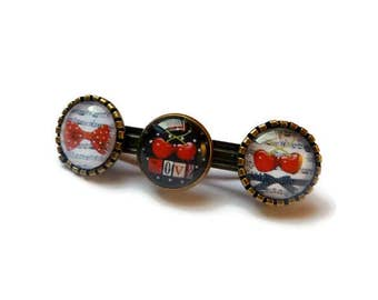 old-school bar cherry red peas bow barrette hair retro old school