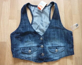 Womens Jeans Vest Top Denim M