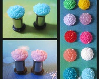Small Spiral Resin Glittery Flower on stainless steel Kawaii EAR PLUG earrings pick gauge and colors 8g, 4g, 2g AKA 4mm, 5mm, 6mm