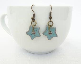 Turquoise Greek Ceramic Star Bead Drop Earrings - Antique Bronze Findings - Dangle Earrings - Handmade - Perfect Gift