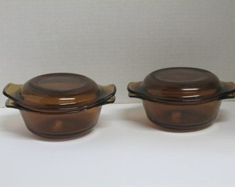Vintage Set of 2 Anchor Hocking Fireking Oven Proof 12 ounce Amber Dishes with Lids