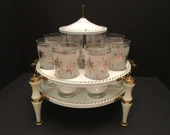 Vintage Hollywood Regency Eight glass holder with Ice Bucket and holder