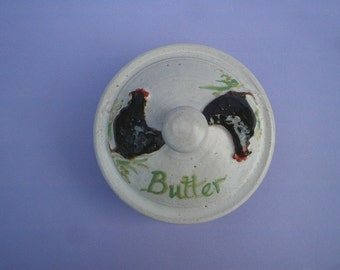 Hand thrown stoneware pottery butter dish with chicken decoration