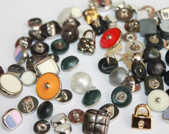 Random assorted acrylic and metal look buttons, assorted colors shapes and sizes, small medium metal buttons, lot of 25