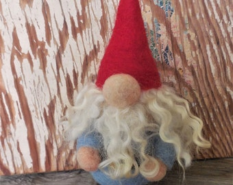 Gnome Ornament, Needle Felted Gnome, Garden Gnome, Fiber Art, Fairytale Decor, Child's Room Decoration, Fairy Garden