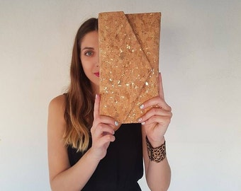 Cork Clutch-Gold Clutch-Eco Friendly Purse-Vegan bag-Handmade bag-Gift for Her-Vegan Gift-Cork Bag-Cork Purse-Unique bag-Envelope Bag
