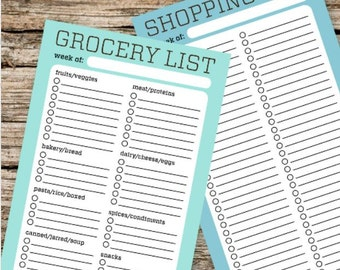 Printable Grocery and Shopping Lists - Planner, Filofax, Traveler's Notebook