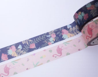 SALE!!Flowers and Flamingo Washi Tape/Deco Masking Tape/Planner Sticker/ Scrapbook Tape/ Deco tape  TZ1034