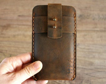iPhone 7 Sleeve, iPhone 7 Case, iPhone 7 Cover, Leather Phone Case, Personalized Men's Gift - I4722CN