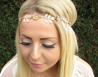 Gold Rose Flower Olive Leaves Headband Baroque Boho Festival Grecian Bridal 1710