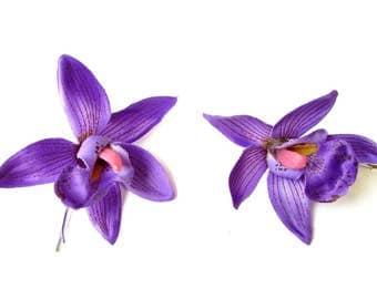 2 x Purple Cattleya Orchid Flower Hair Grips Clips Bobby Pins Slides Hawaii 2138
