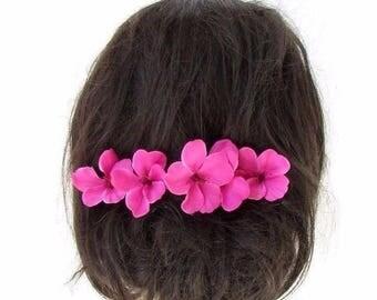 5 x Hot Pink Hibiscus Flower Hair Pins Clips Tropical Beach Bridal Hawaiian 2420