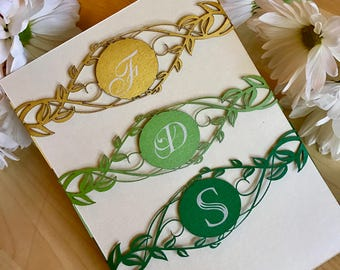 Greenery wedding laser cut belly bands custom monogramed leaves and vines modern chic