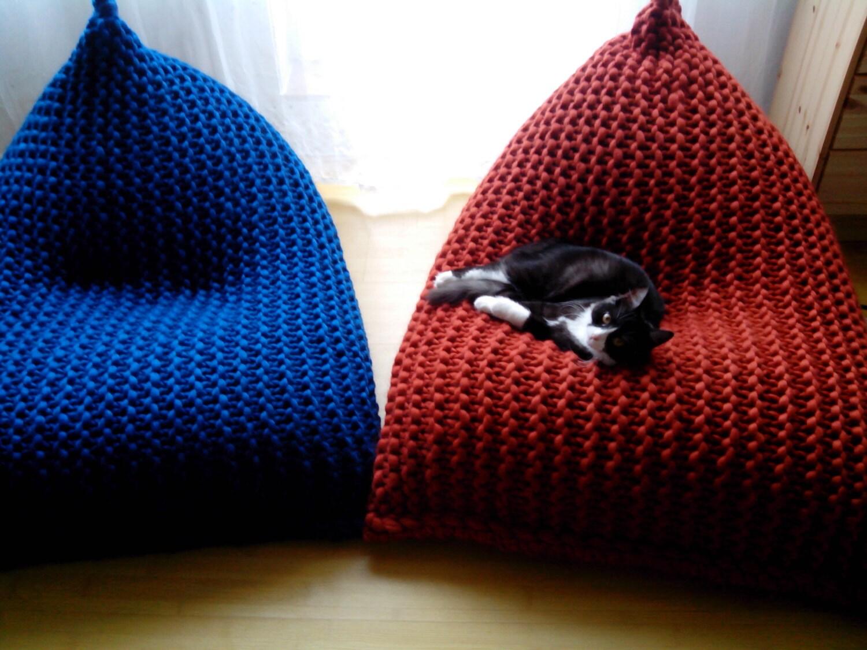 Chunky Merino Wool Grey Knit Adult Bean Bag Gray By Giemarga