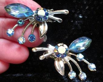 Vintage Aurora Borealis Earrings flower rhinestone silver Tone Clip on  sparkly Crystal prom wedding gift blue earrings AB earrings cute