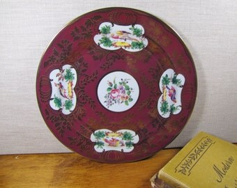 Metropolitan Museum of Art - Souvenir Tin Plate - Deep Burgandy Red and Gold