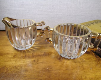 Ribbed Glass Sugar Dish and Creamer - Gold Accent