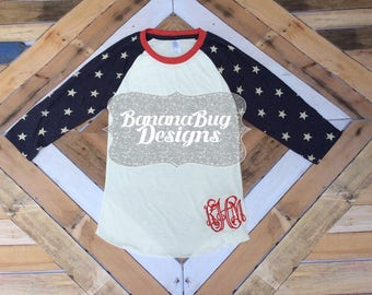 4th of July shirt,Monogrammed Patriotic shirt,Monogrammed Stars Raglan,Monogrammed Patriotic Raglan,4th of July tee,America ladies shirt