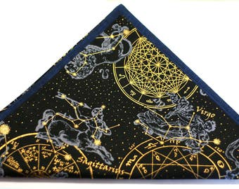 Zodiac Pocket Square - Space Pocket Square, Constellation, Cosmos, Zodiac Signs - Astronomy - Black and Gold Reversible Pocket Square